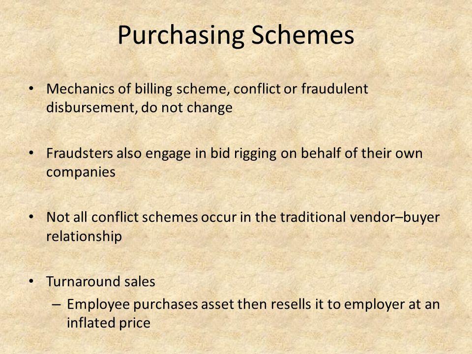 Purchasing Schemes Mechanics of billing scheme, conflict or fraudulent disbursement, do not change.