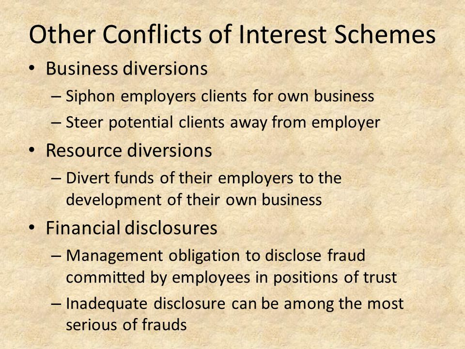 Other Conflicts of Interest Schemes