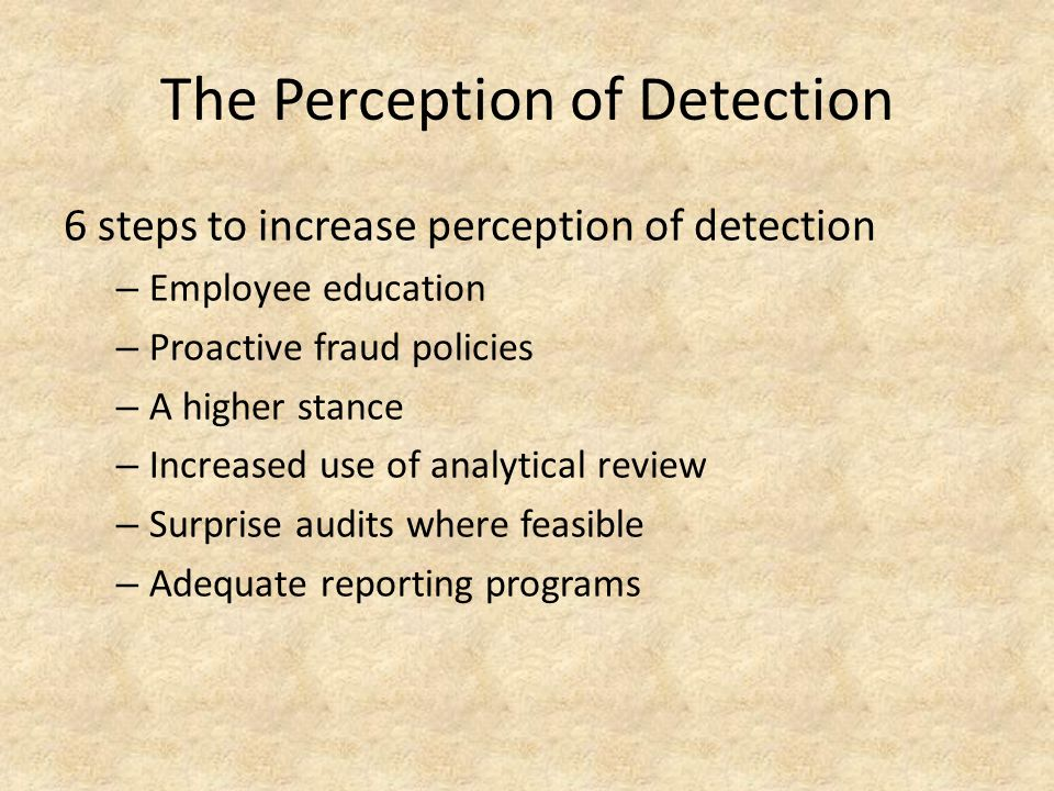 The Perception of Detection