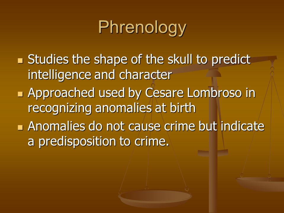 Phrenology Studies the shape of the skull to predict intelligence and character.