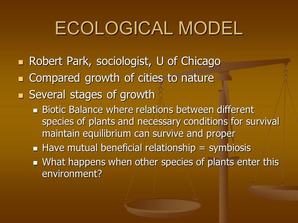 ECOLOGICAL MODEL Robert Park, sociologist, U of Chicago