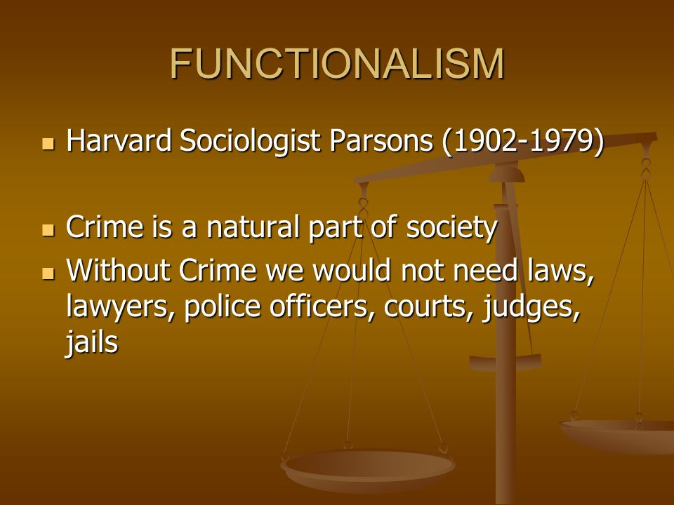 FUNCTIONALISM Harvard Sociologist Parsons (1902-1979)