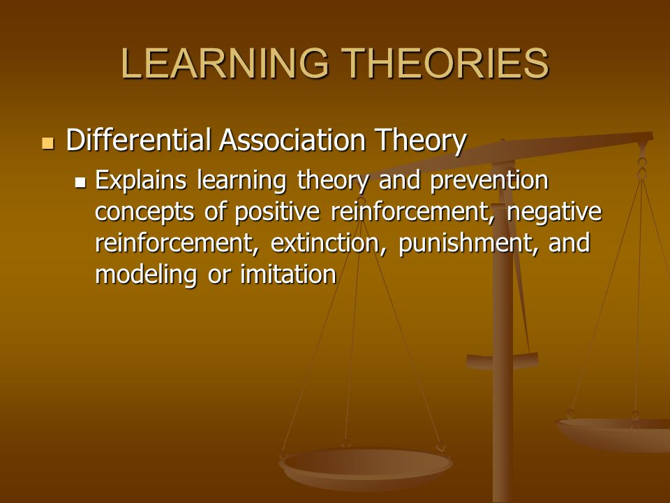 LEARNING THEORIES Differential Association Theory