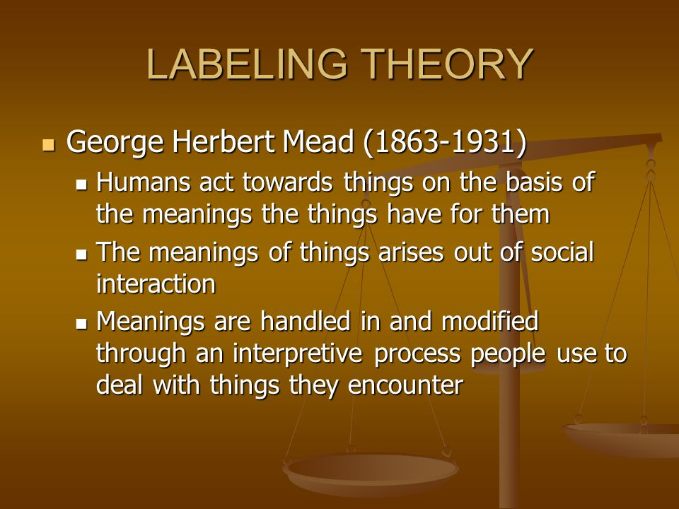 LABELING THEORY George Herbert Mead (1863-1931)
