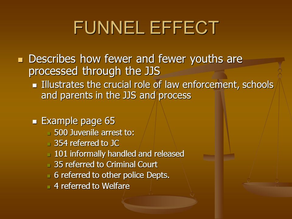 FUNNEL EFFECT Describes how fewer and fewer youths are processed through the JJS.