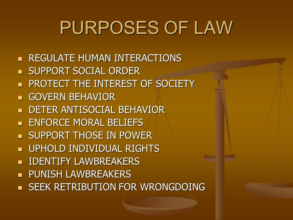 PURPOSES OF LAW REGULATE HUMAN INTERACTIONS SUPPORT SOCIAL ORDER