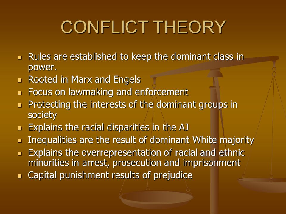 CONFLICT THEORY Rules are established to keep the dominant class in power. Rooted in Marx and Engels.