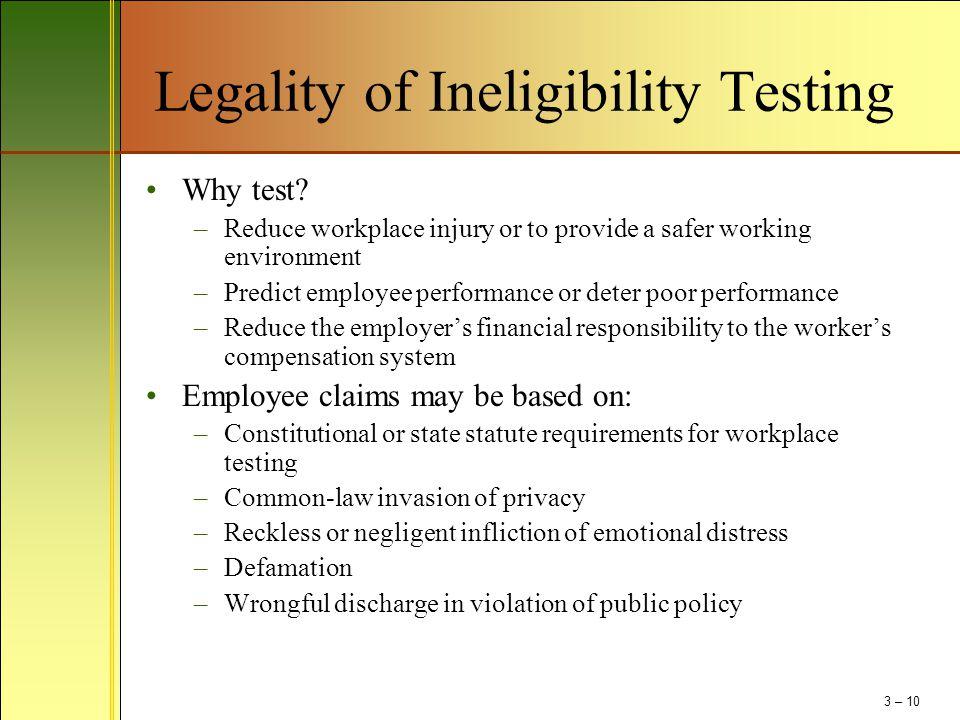 Legality of Ineligibility Testing