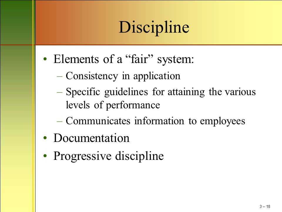 Discipline Elements of a fair system: Documentation