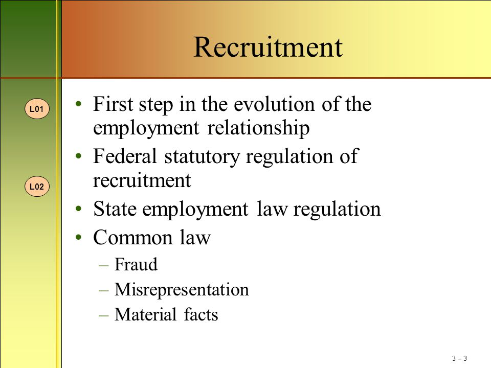 Recruitment First step in the evolution of the employment relationship