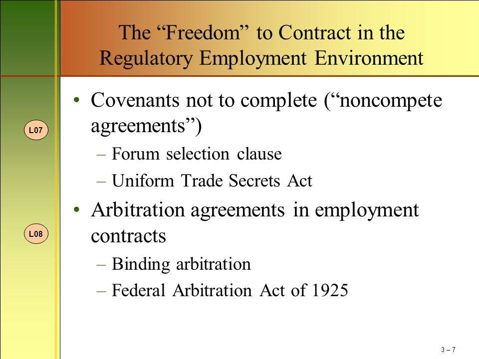 The Freedom to Contract in the Regulatory Employment Environment