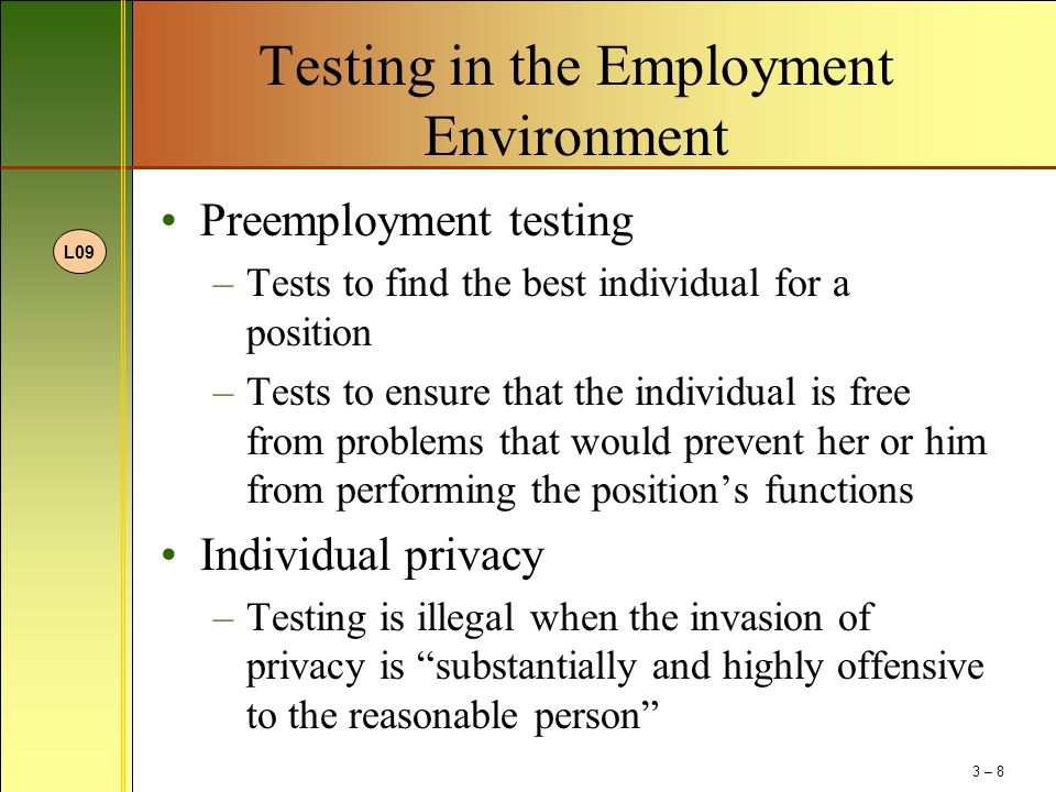 Testing in the Employment Environment