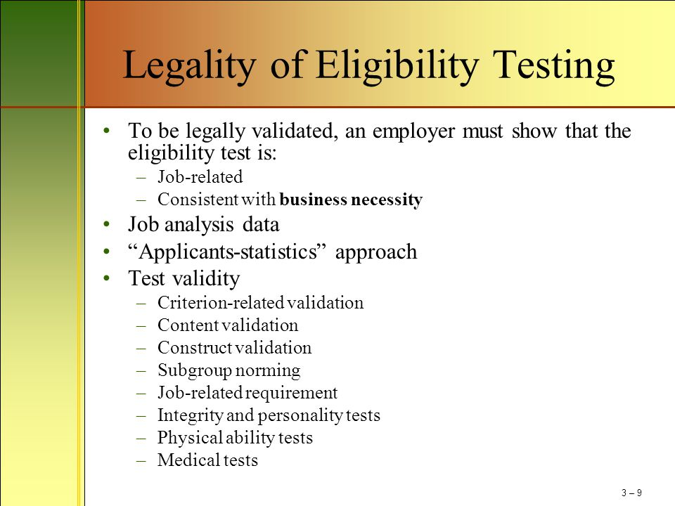 Legality of Eligibility Testing