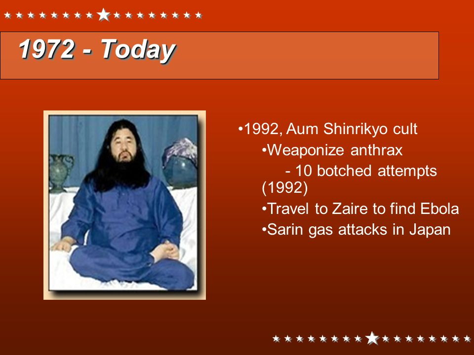 1972 - Today 1992, Aum Shinrikyo cult Weaponize anthrax