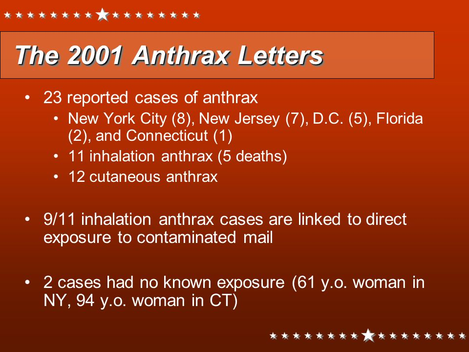 The 2001 Anthrax Letters 23 reported cases of anthrax