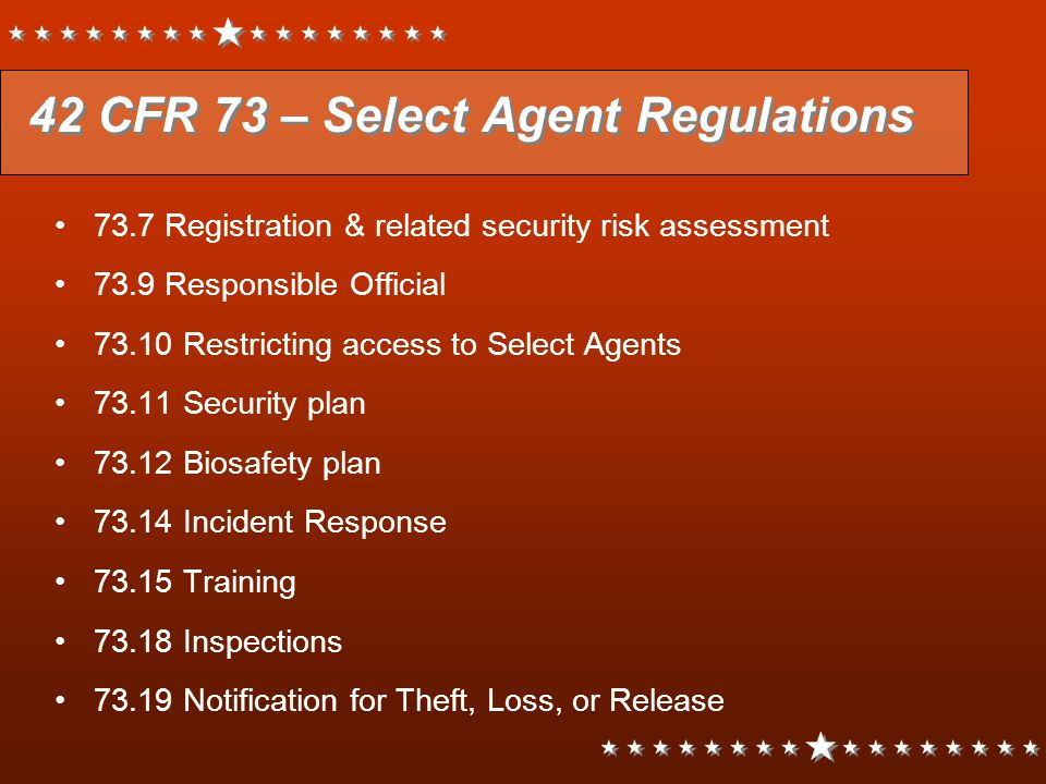 42 CFR 73 – Select Agent Regulations