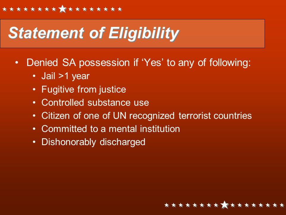 Statement of Eligibility