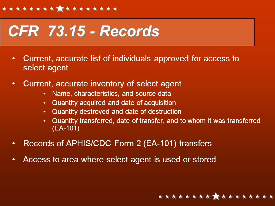 CFR 73.15 - Records Current, accurate list of individuals approved for access to select agent. Current, accurate inventory of select agent.