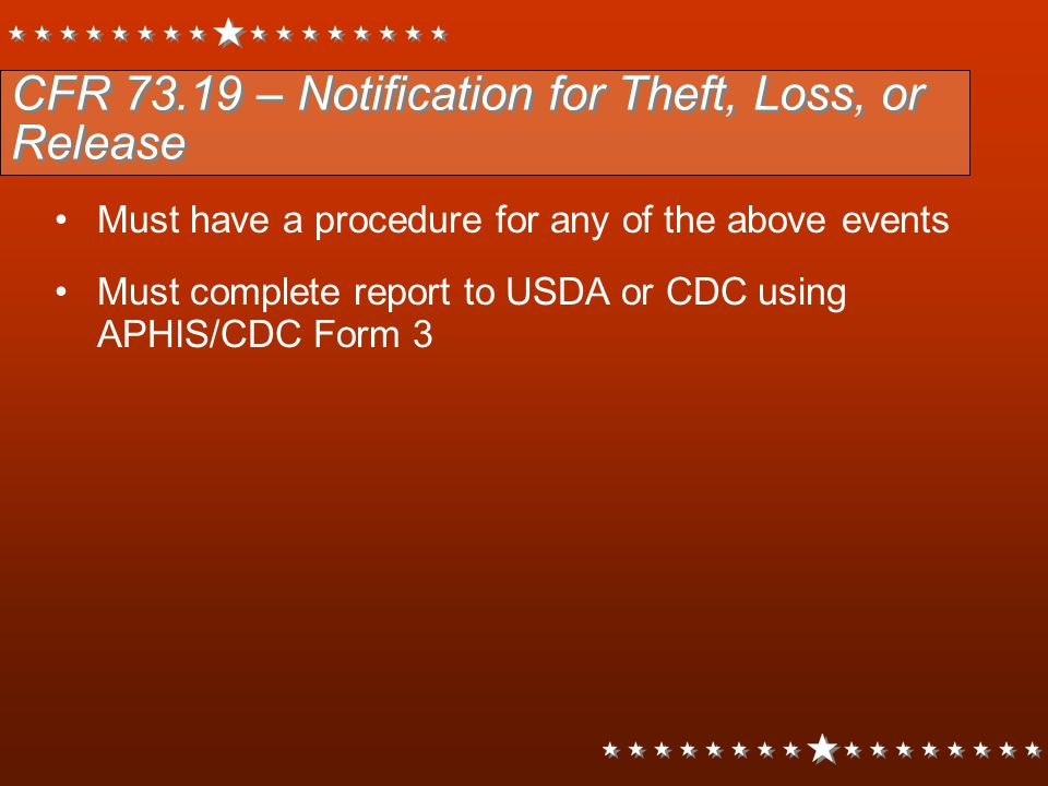 CFR 73.19 – Notification for Theft, Loss, or Release
