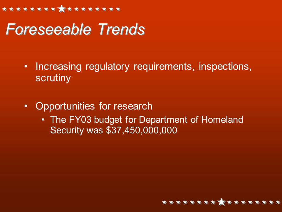 Foreseeable Trends Increasing regulatory requirements, inspections, scrutiny. Opportunities for research.