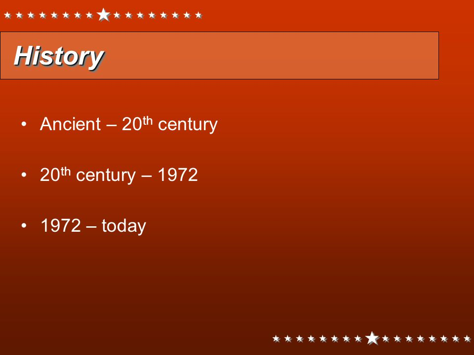 History Ancient – 20th century 20th century – 1972 1972 – today