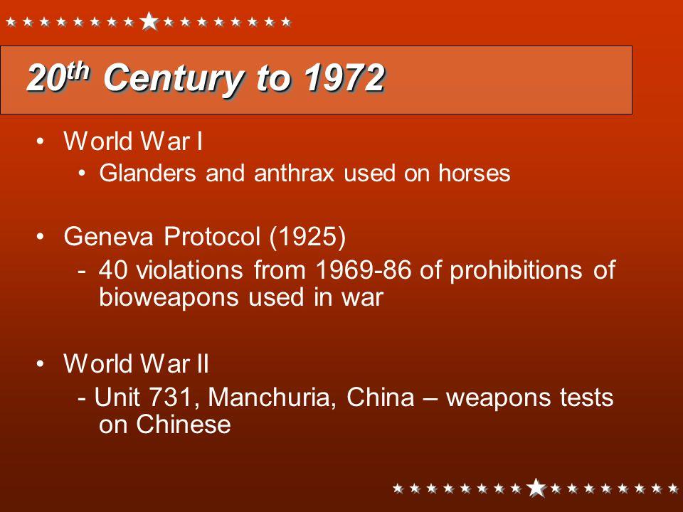 20th Century to 1972 World War I Geneva Protocol (1925)