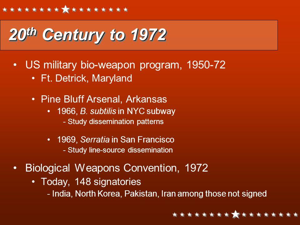 20th Century to 1972 US military bio-weapon program, 1950-72