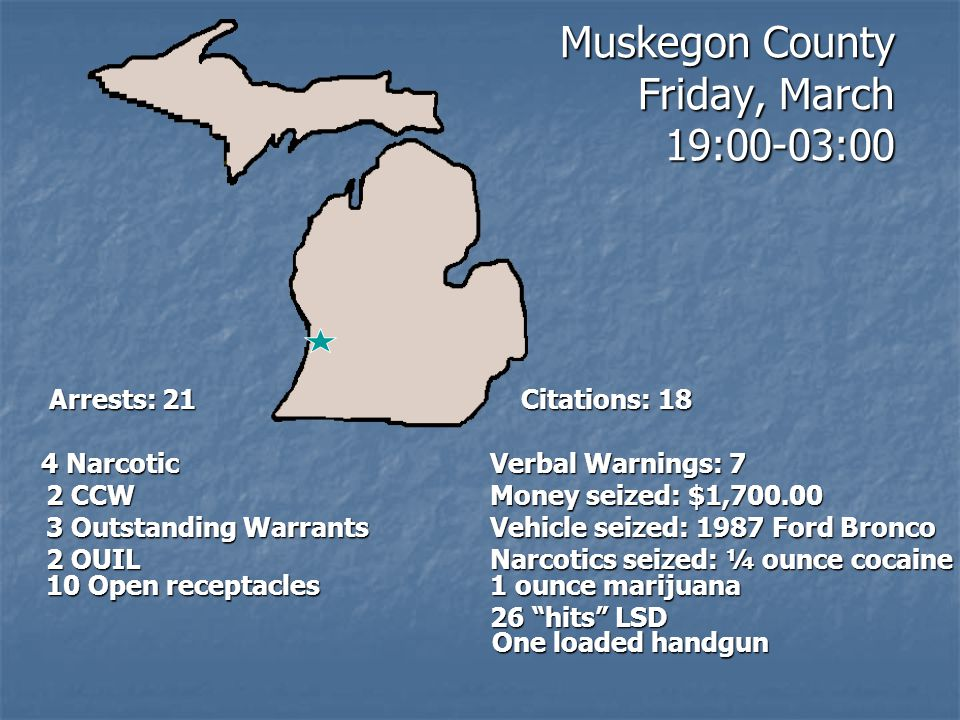 Muskegon County Friday, March 19:00-03:00