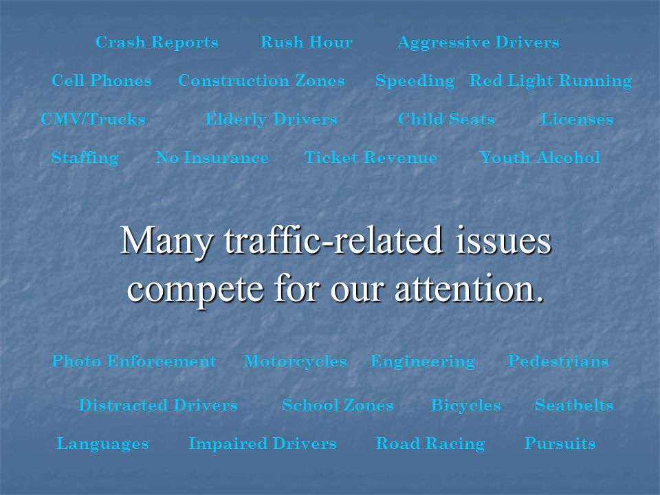 Many traffic-related issues compete for our attention.