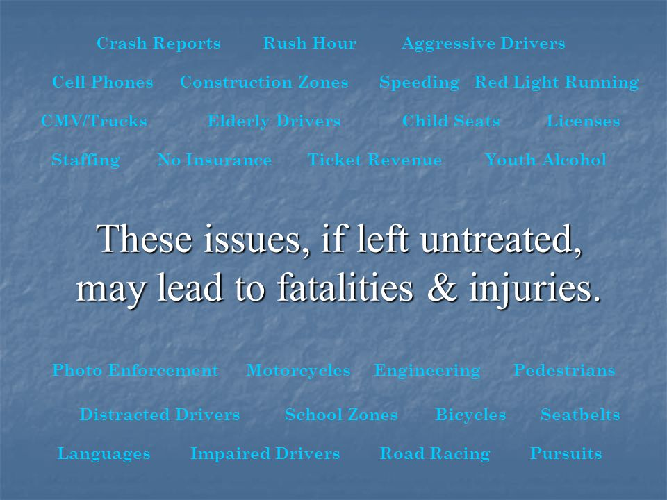 These issues, if left untreated, may lead to fatalities & injuries.
