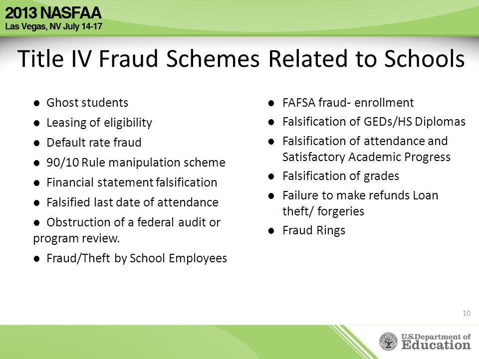 Title IV Fraud Schemes Related to Schools