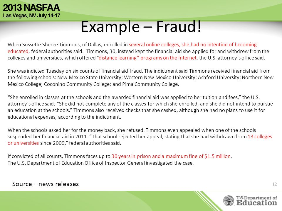 Example – Fraud! Source – news releases
