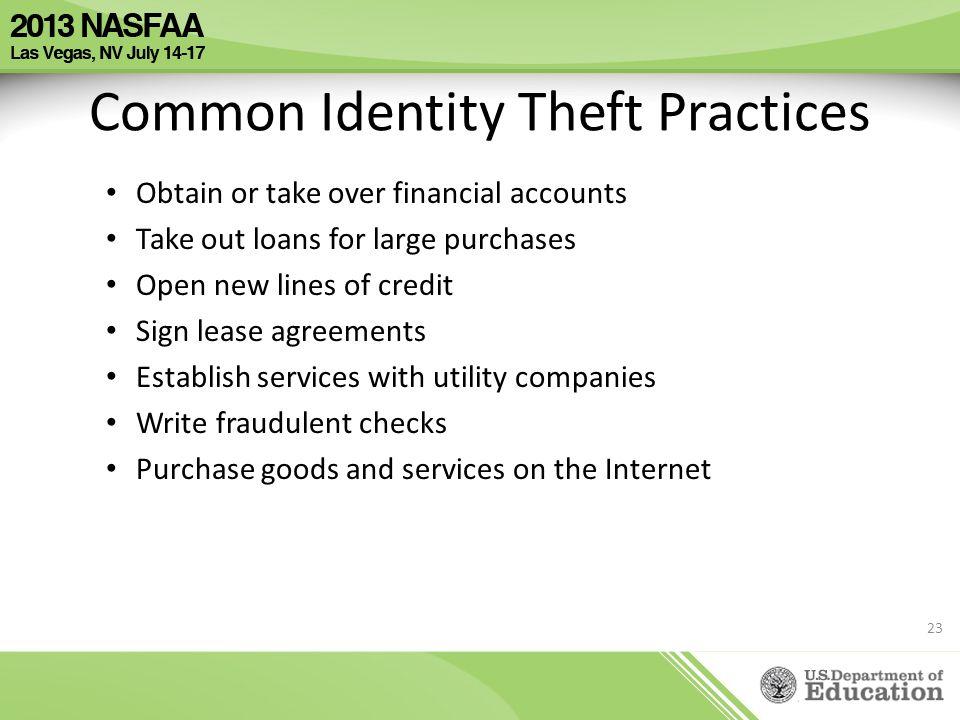 Common Identity Theft Practices