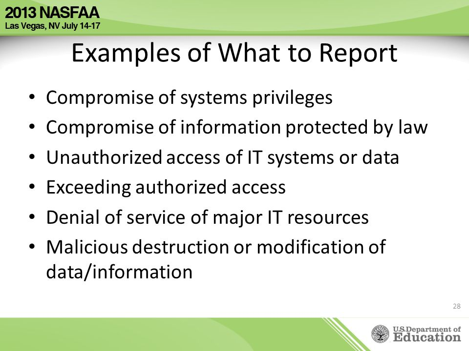 Examples of What to Report