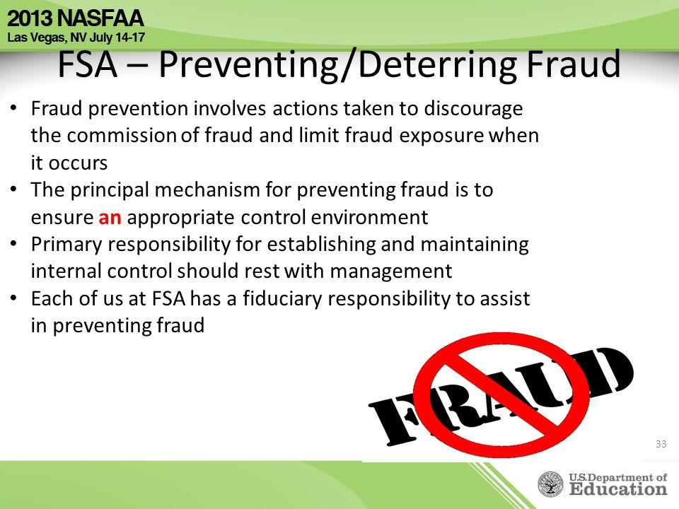 FSA – Preventing/Deterring Fraud