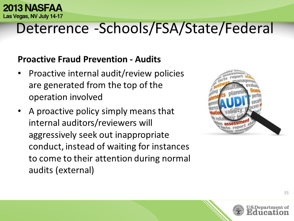Deterrence -Schools/FSA/State/Federal