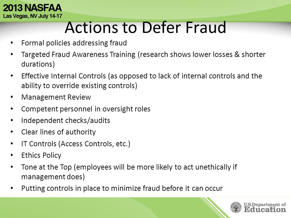 Actions to Defer Fraud Formal policies addressing fraud