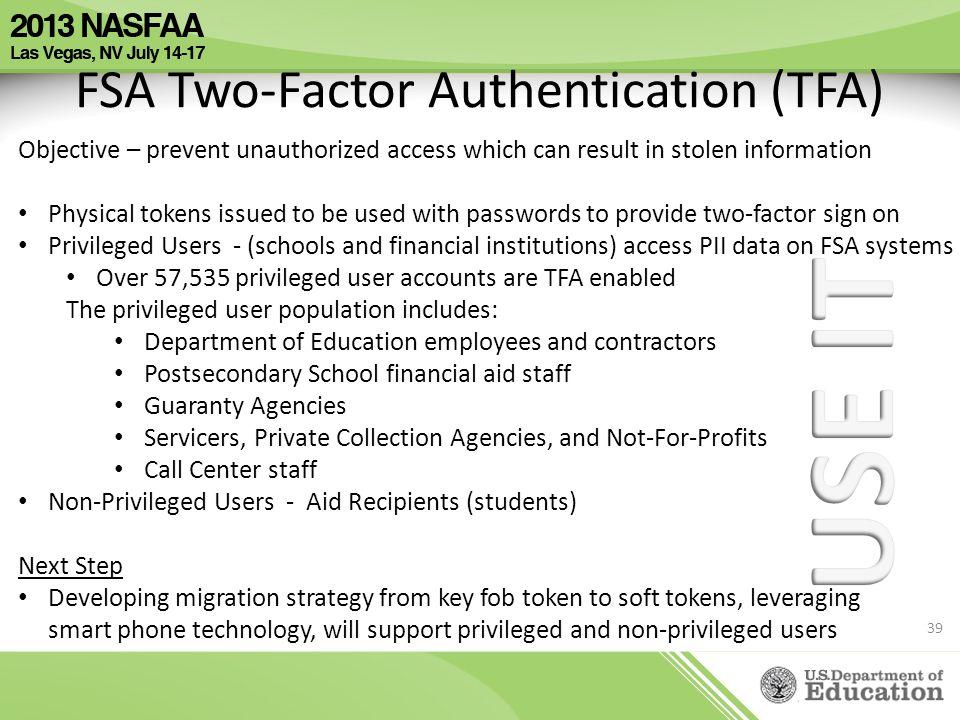 FSA Two-Factor Authentication (TFA)