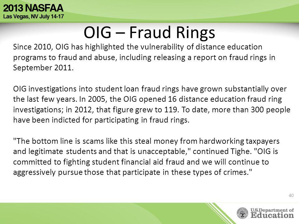 OIG – Fraud Rings