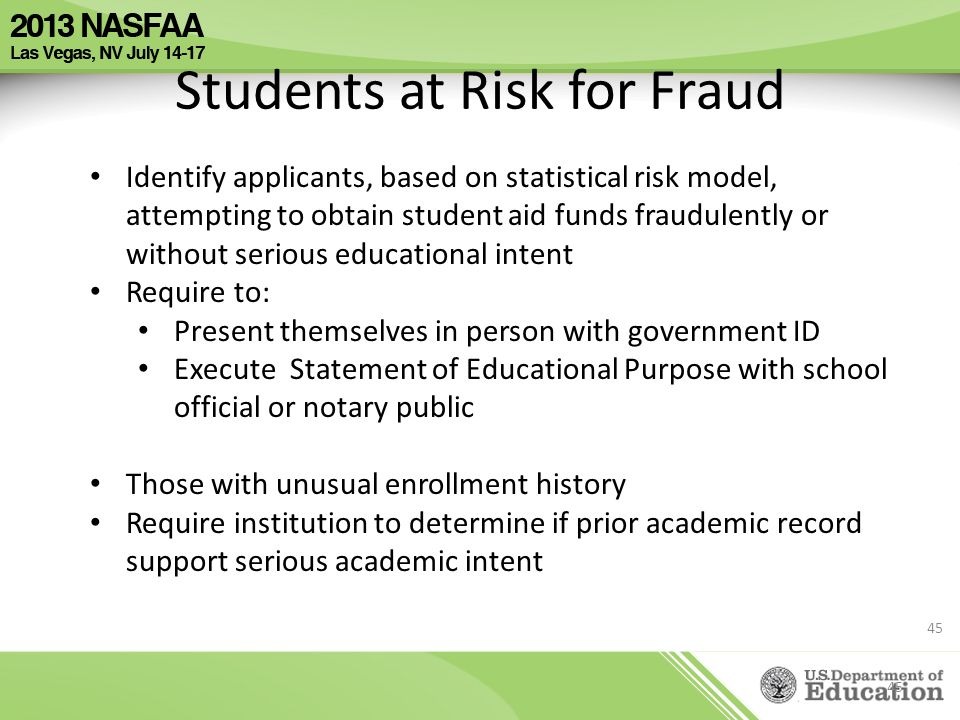 Students at Risk for Fraud