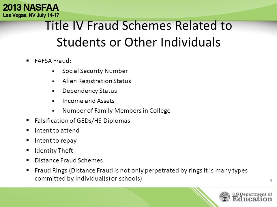 Title IV Fraud Schemes Related to Students or Other Individuals