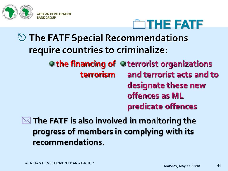THE FATF The FATF Special Recommendations require countries to criminalize: the financing of terrorism.