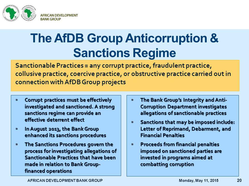 The AfDB Group Anticorruption & Sanctions Regime