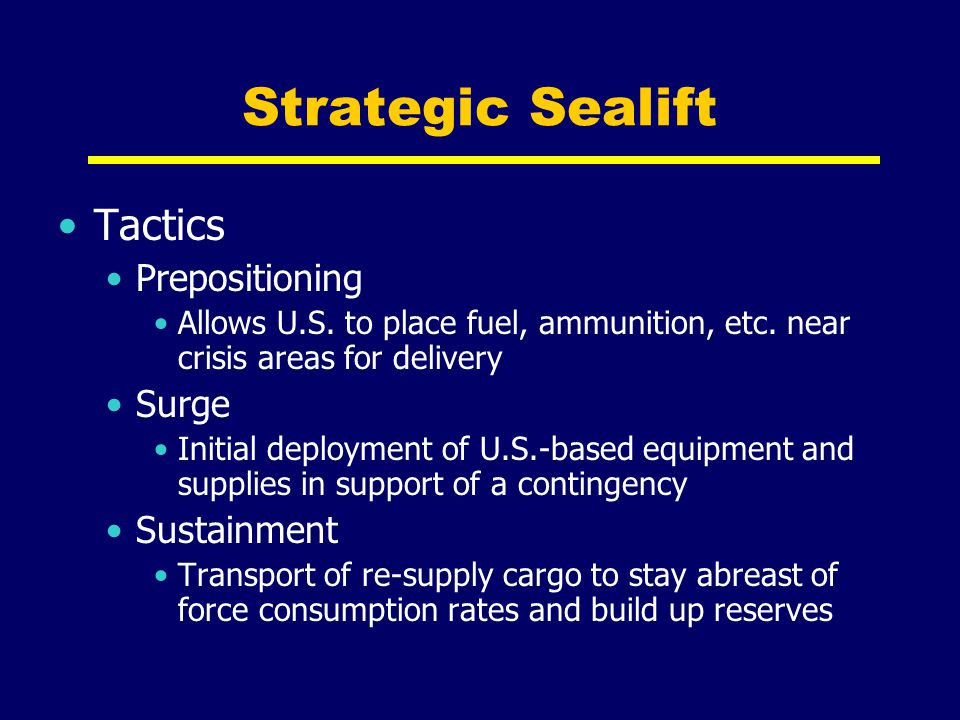 Strategic Sealift Tactics Prepositioning Surge Sustainment