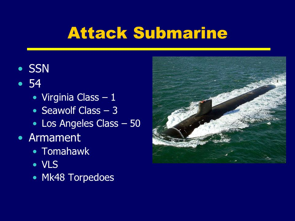 Attack Submarine SSN 54 Armament Virginia Class – 1 Seawolf Class – 3