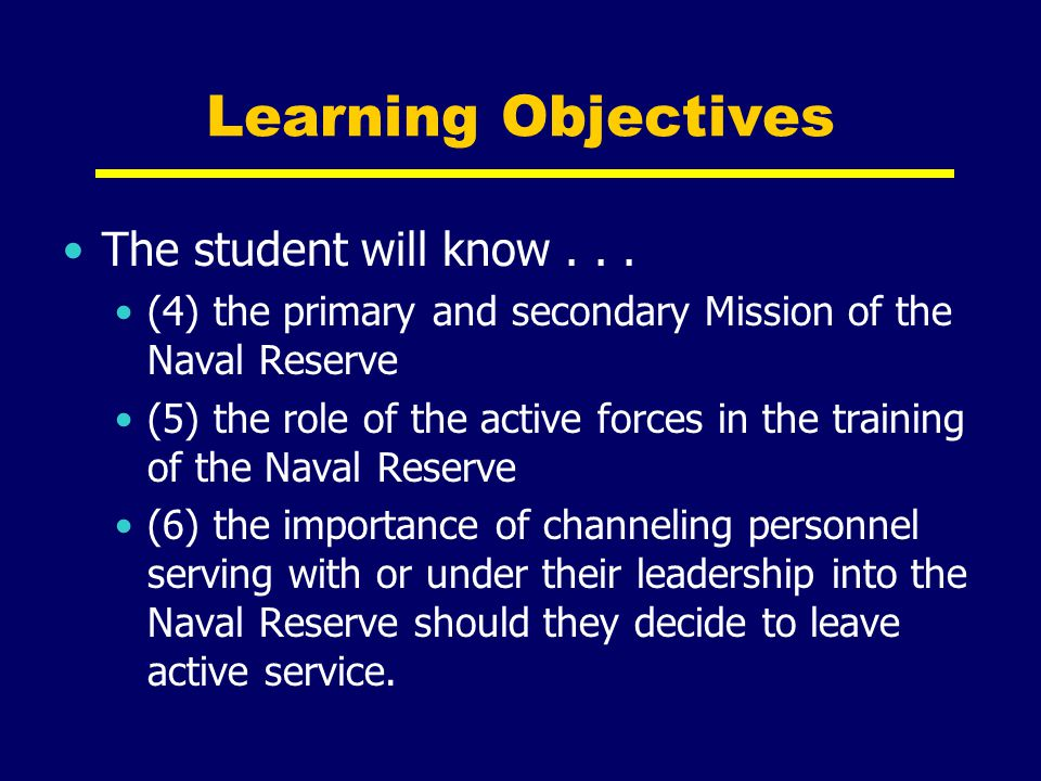 Learning Objectives The student will know . . .