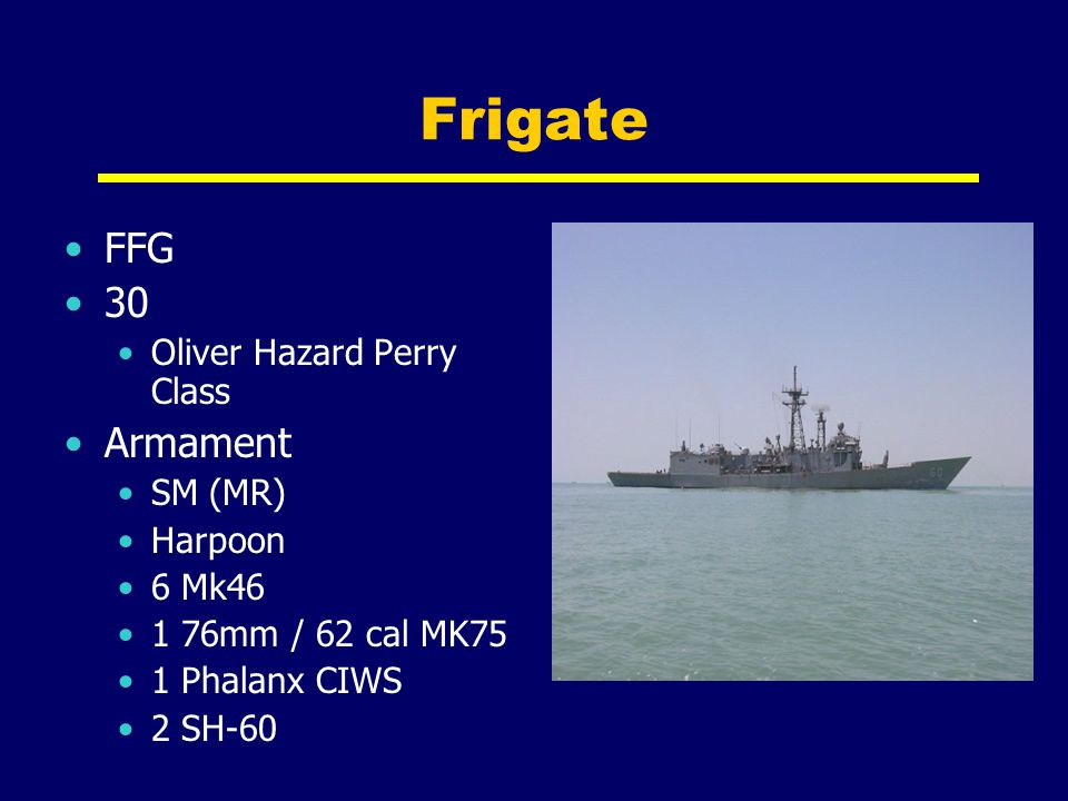 Frigate FFG 30 Armament Oliver Hazard Perry Class SM (MR) Harpoon