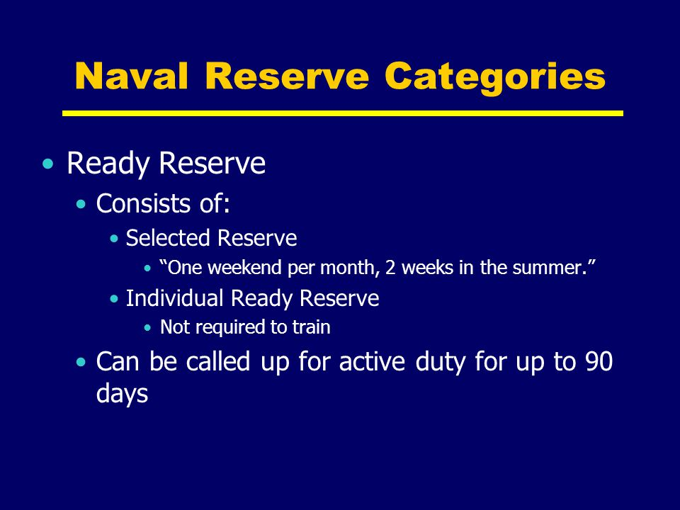 Naval Reserve Categories