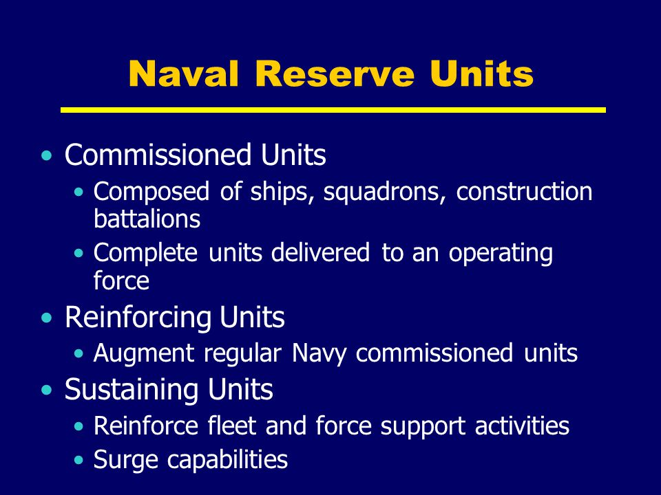 Naval Reserve Units Commissioned Units Reinforcing Units