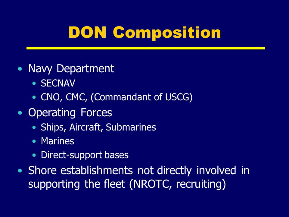 DON Composition Navy Department Operating Forces